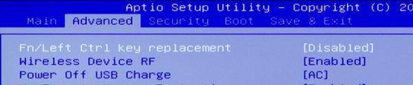 「Fn/Left Ctrl key replacement」が白く表示されている状態でスペースキーを押してください。ほかの部分が白くなっているときは、「↑」または「↓」キーで選択場所を変更します