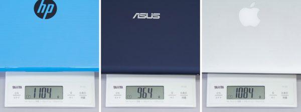 そのほかの11.6型モデルとの重さ比較