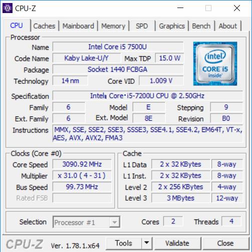 CPU-ZによるCore I5-7200Uの詳細情報