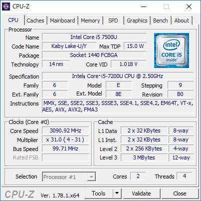 CPU-Zの詳細情報