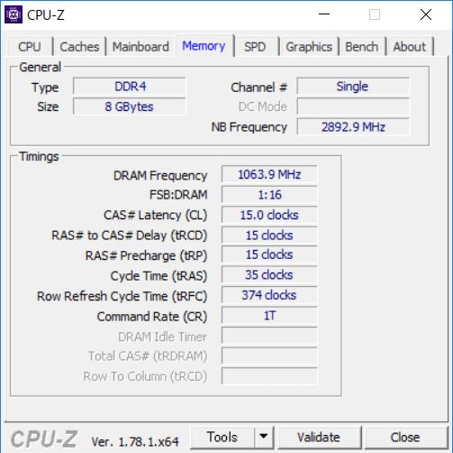 CPU-Zのメモリー詳細情報