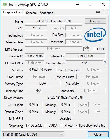 Intel HD Graphics 620詳細情報