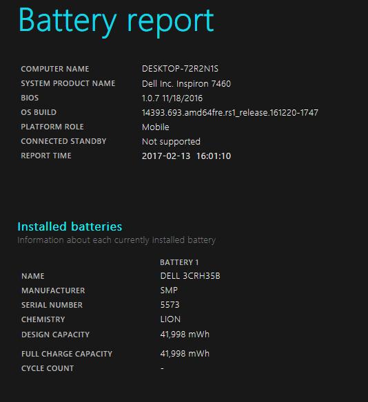 試用機のバッテリーレポート