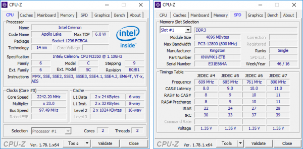 CPUとメモリーの詳細情報
