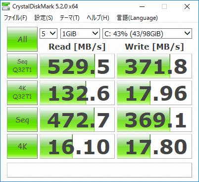 SSD換装後のアクセス速度