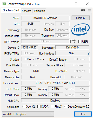 Intel HD Graphics 500の詳細情報