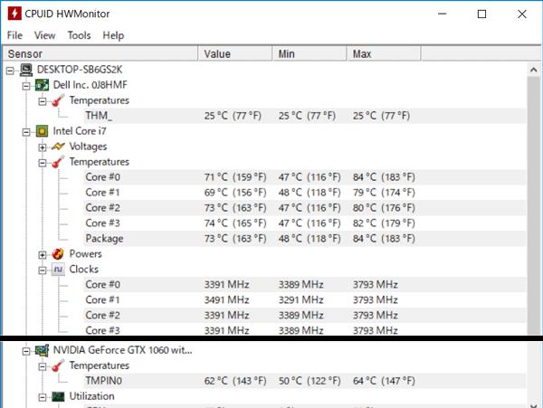 CPUとGPUの温度
