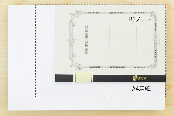 A4用紙とB5サイズノートとの比較