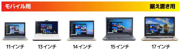 ノートPCのサイズ比較