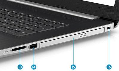 HP 17-by0000 右側面のインターフェース
