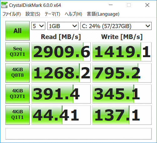 ThinkPad X280 256GB SSDアクセス速度