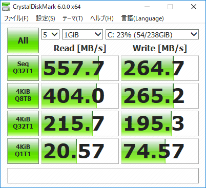 Critea VF-AGKR SSDのアクセス速度