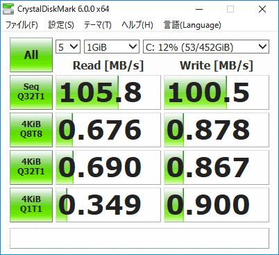 HP 250 G6 ストレージのアクセス速度(CrystalDiskMark)