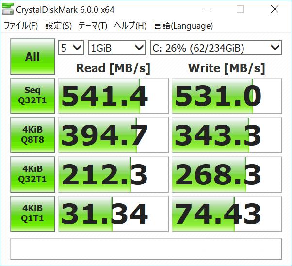 LIFEBOOK WU2/C3 SSDのアクセス速度