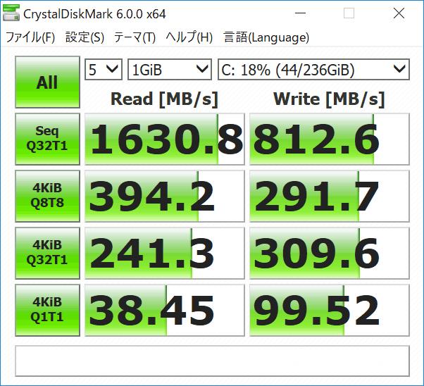 Surface Laptop 2 ストレージのアクセス速度(CrystalDiskMark)