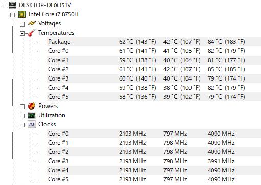 GALLERIA GCF1060GF-E CPU温度