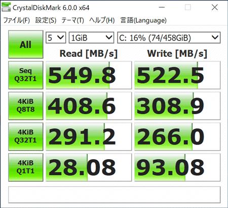 dynabook RZ63 ストレージのアクセス速度(CrystalDiskMark)