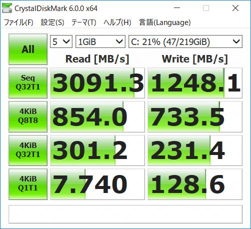 HP ENVY 13-ah0000 ストレージのアクセス速度 (Crystal Diskmark)