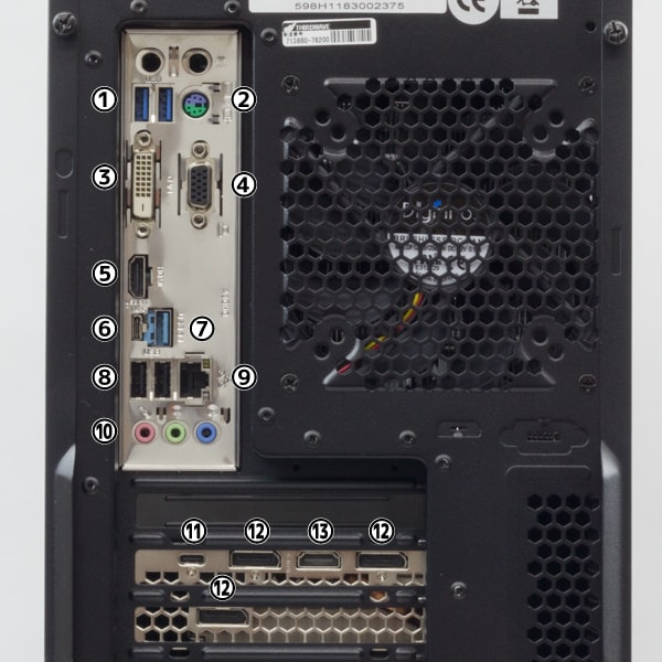 GALLERIA ZZ i9-9900K 背面