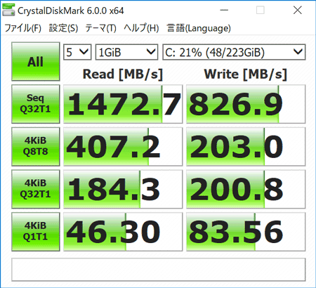 Inspiron 14 5000 2-in-1 ストレージのアクセス速度(CrystalDiskMark)