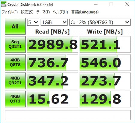 HP Spectre Folio 13 ストレージのアクセス速度(CrystalDiskMark)