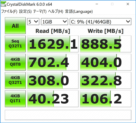 Inspiron 13 7000 2-in-1 ストレージのアクセス速度(CrystalDiskMark)