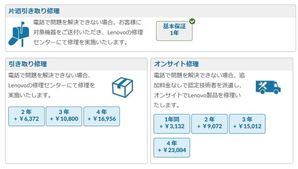 ThinkPad E590 保証サービス