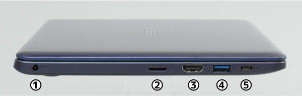 ASUS VivoBook W203MA 左側面