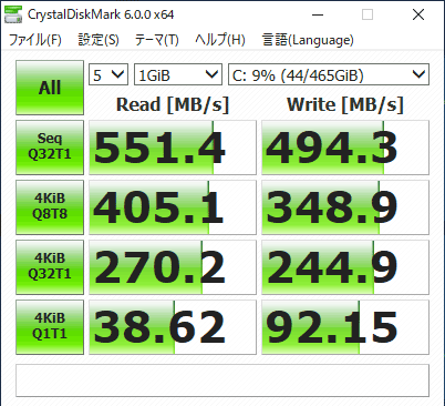 Critea DX-KS RH3 ストレージのアクセス速度 (Crystal Diskmark)