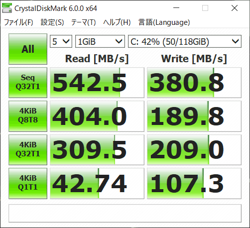 VAIO A12 ストレージのアクセス速度 (Crystal Diskmark)