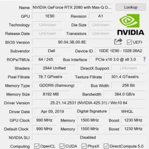 ALIENWARE M17 GPU