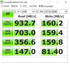 HP ENVY 15 x360 ストレージのアクセス速度