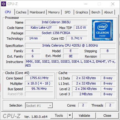 Celeron 4205U CPU-Z