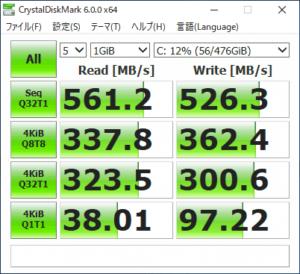 GALLERIA XF SSDのアクセス速度