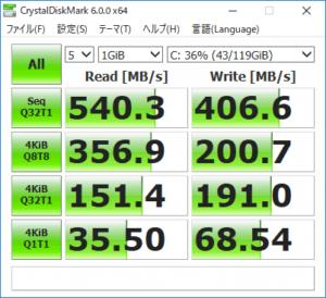 HP ProBook 430 G5 ストレージのアクセス速度