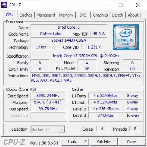Core i5-9300H CPU-Z