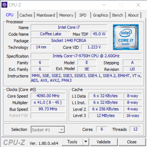 Core i7-9750H CPU-Z