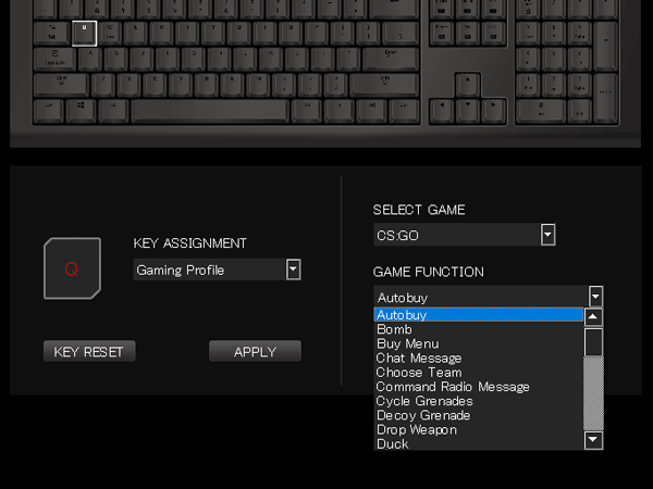 X1 RGB キー設定