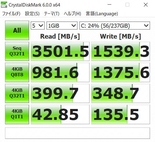 IdeaPad C340 (15) SSDのアクセス速度