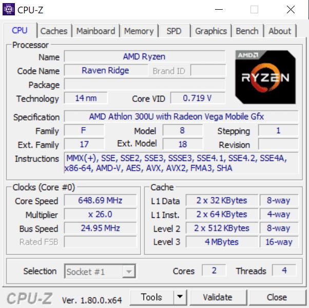 Athlon 300U CPU Z