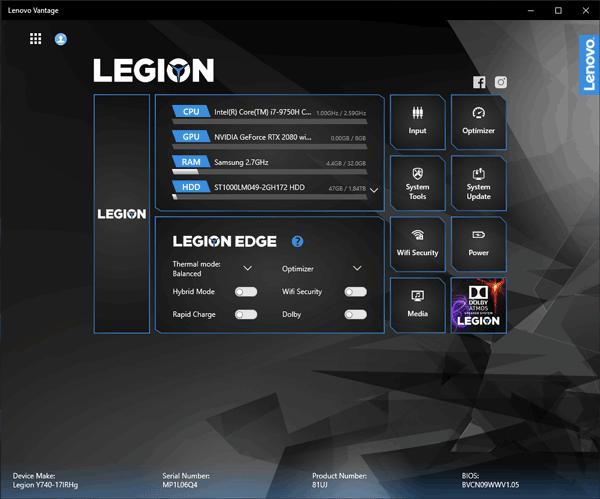 Legion Y740 (17) パフォーマンス設定