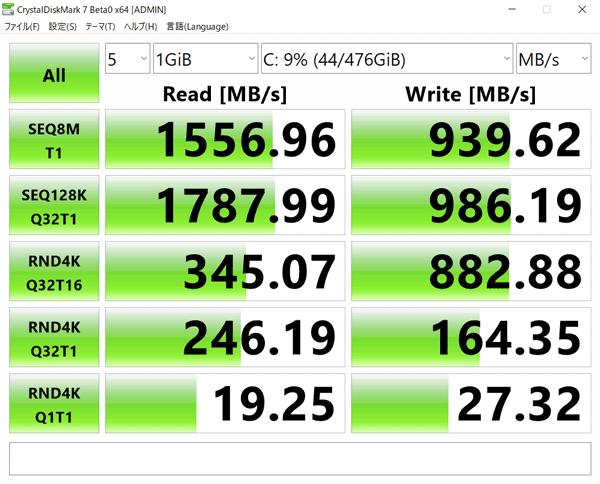 GALLERIA GCR1660TGF-QC-G SSDのアクセス速度