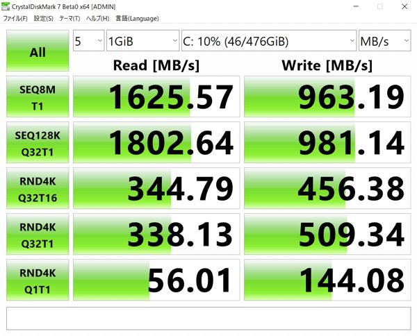 ASUS ZenBook 15 UX534FT アクセス速度