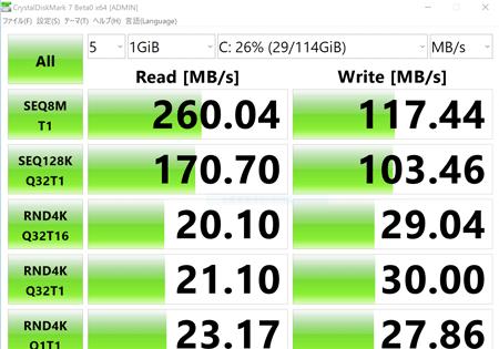 CHUWI MiniBook アクセス速度