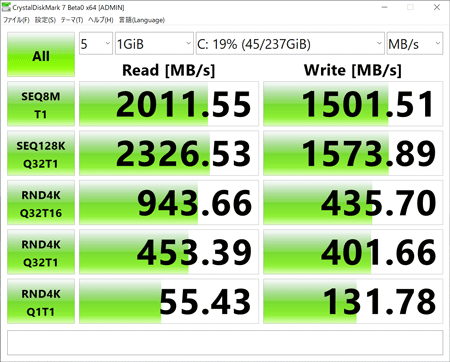 Surface Laptop 3 アクセス速度