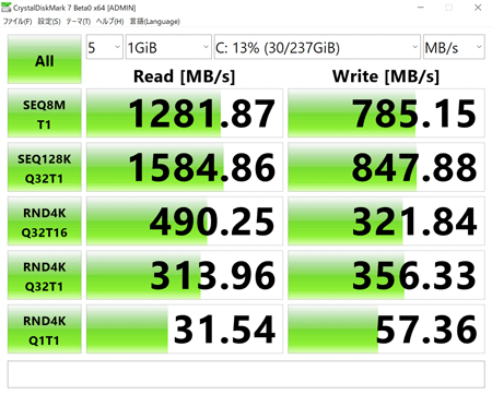 ThinkBook 13s アクセス速度
