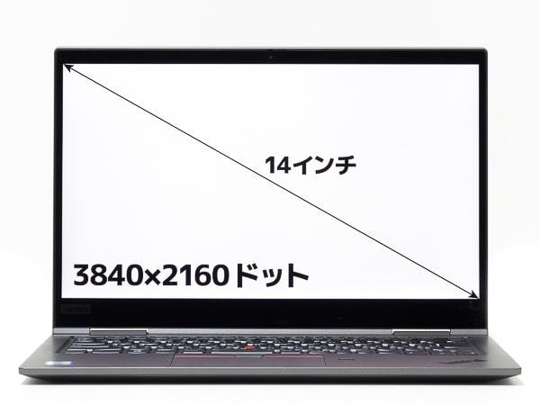 ThinkPad X1 Yoga 2019年モデル 画面