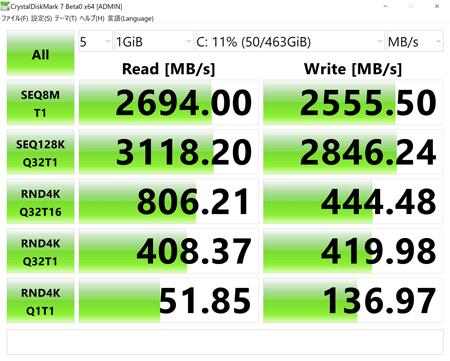 XPS13 7390 アクセス速度
