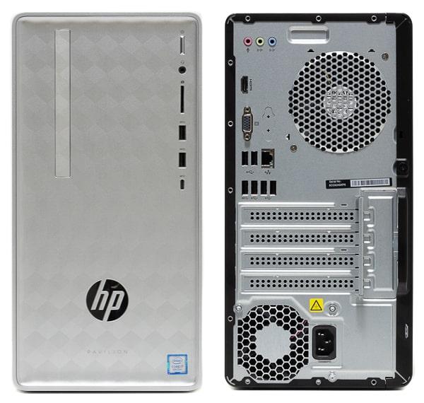 HP Pavilion Desktop 590 前面と背面