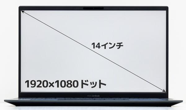ASUS ZenBook 14 UM425IA 画面サイズ